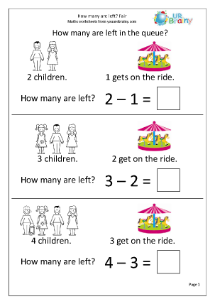 Preview of worksheet How many are left? Fairground