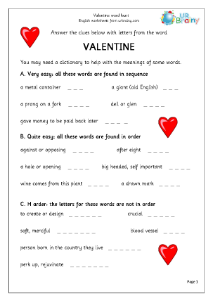 Preview of worksheet Valentine's Day  Word Hunt