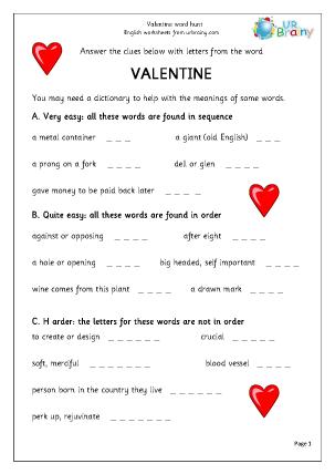 Valentine's Day  Word Hunt