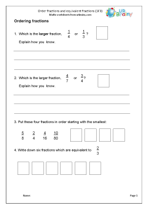 Preview of worksheet Order fractions and equivalent fractions (5F3)
