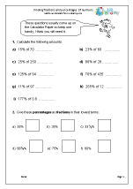 math worksheet : reasoning paper fractions and percentages maths worksheets for  : Finding Fractions Of Numbers Worksheets