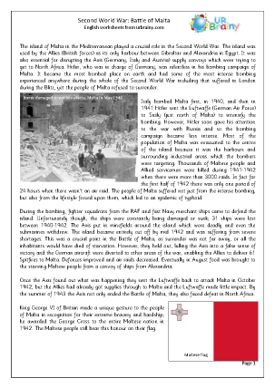 Preview of worksheet Second World War: Battle of Malta