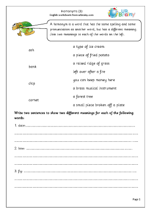 Preview of worksheet Homonyms  3