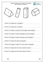 Identify 2-D Shapes On 3-D Shapes