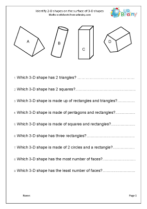Preview of worksheet Identify 2-D shapes on 3-D shapes