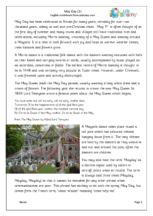 Preview of worksheet May Day