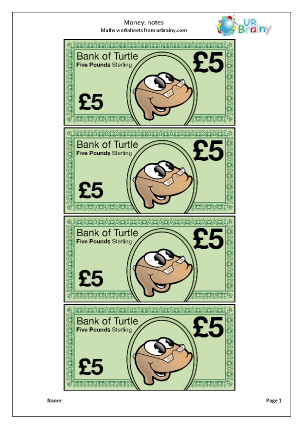 Preview of worksheet £5 notes