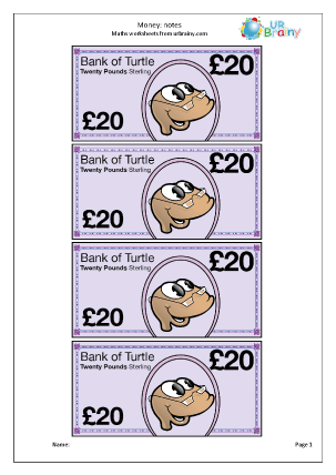 Preview of worksheet £20 notes