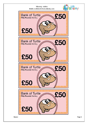 Preview of worksheet £50 notes