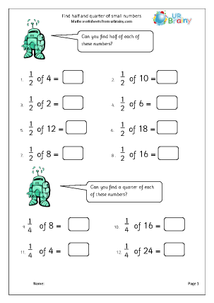 Preview of worksheet Find half and quarter of small numbers
