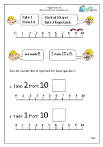 Subtract from 10 with a number line (3)