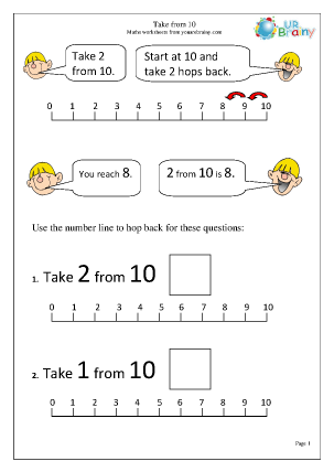 Preview of worksheet Subtract from 10 with a number line (3)