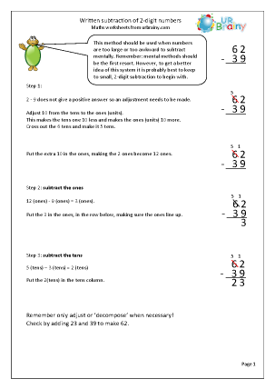 Preview of worksheet Written subtraction of 2-digit numbers