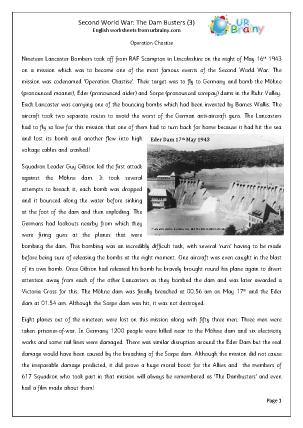 second world war dam busters 3 english worksheet for key stage 1. Black Bedroom Furniture Sets. Home Design Ideas