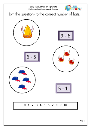 Preview of worksheet Using the subtraction sign (1)