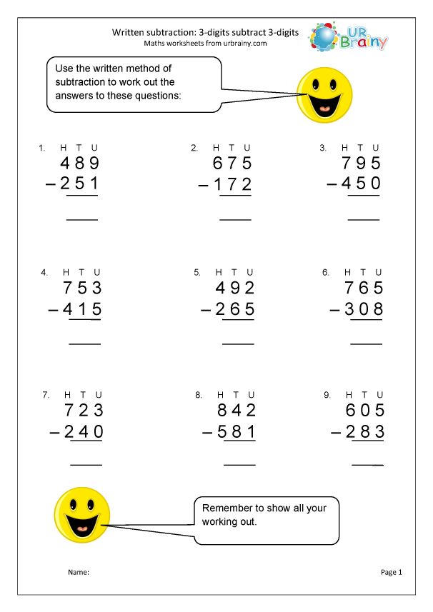 Preview of 'Written subtraction using 3-digit numbers'