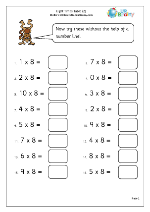 Times Table Multiplication Worksheet - learning the 8 times table ...