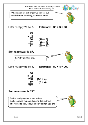 Preview of worksheet Develop written methods of multiplication