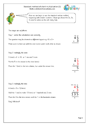 Preview of worksheet Standard written method of multiplication