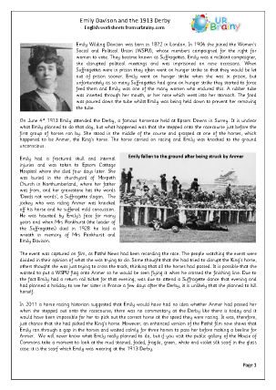 Preview of worksheet Emily Davison and the 1913 Derby