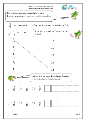 math worksheet : tenths fractions as decimals fractions maths worksheets for year  : Decimal Tenths Worksheet