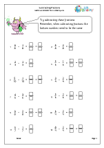 subtracting fractions fractions maths worksheets for year 3 age 7 8. Black Bedroom Furniture Sets. Home Design Ideas