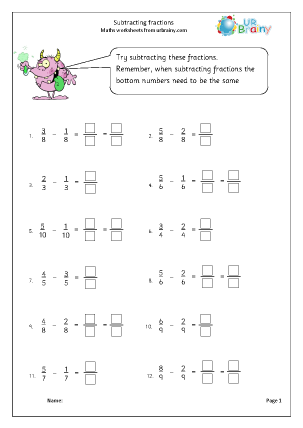 Preview of worksheet Subtracting fractions (1)