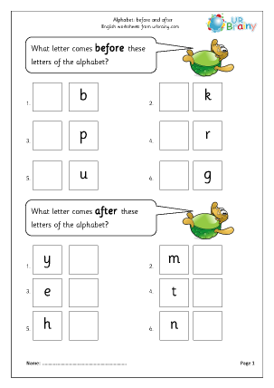 Preview of worksheet Alphabet: before and after