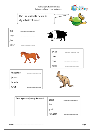 Preview of worksheet Sorting animal names (first letter)