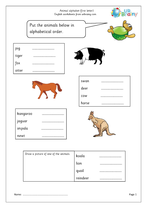 Preview of 'Sorting animal names (first letter)'