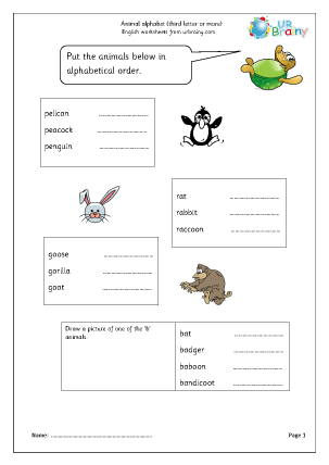 Preview of worksheet Sorting animal names (third letter or more)