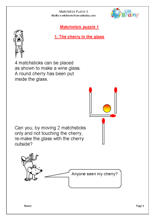 Preview of worksheet Matchstick Puzzle 1