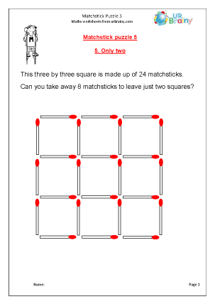 Preview of worksheet Matchstick Puzzle 5