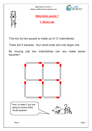 Preview of worksheet Matchstick Puzzle  7