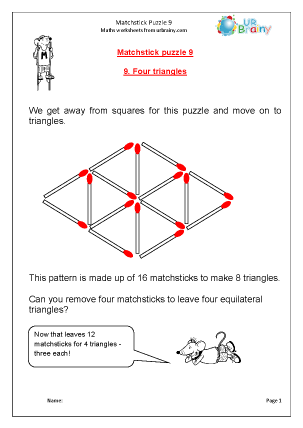 Preview of worksheet Matchstick Puzzle 9