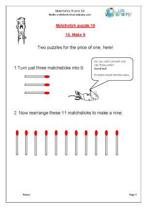 Preview of worksheet Matchstick Puzzle 10