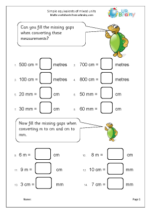 Preview of worksheet Equivalent measures