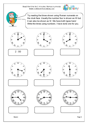 Preview of worksheet Roman Numerals: reading time to 5 minutes