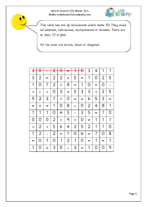 Year 3 Make 10 Word Search