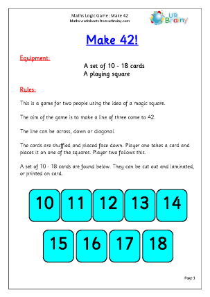 Preview of worksheet Make 42