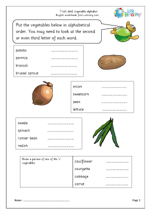 Preview of worksheet Fruit and vegetable