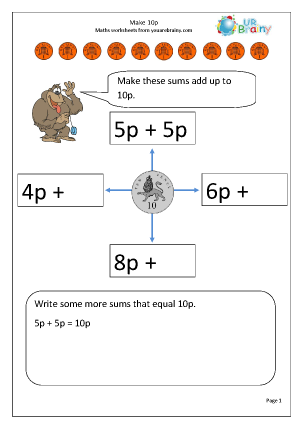 Preview of worksheet Make 10p