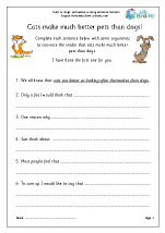 Persuasive writing english worksheets cat dog arguments spiritdancerdesigns Gallery