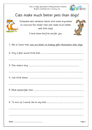 Preview of worksheet Cat dog arguments