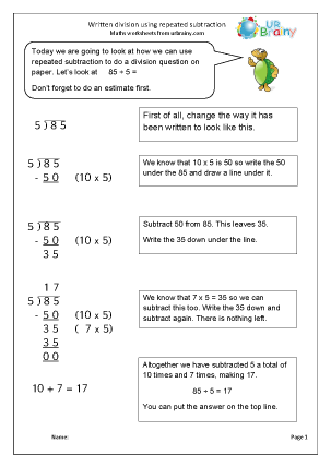 Written Division Using Repeated Subtraction Division Maths ...