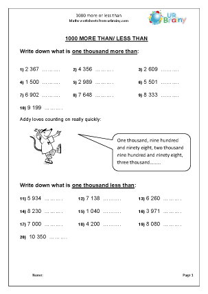 Preview of worksheet 1000 more or less than