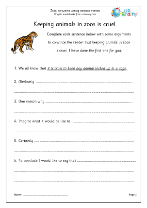Preview of worksheet Zoo arguments