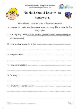 Preview of worksheet Homework arguments
