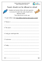 Persuasive writing english worksheets sweets in school arguments spiritdancerdesigns Image collections
