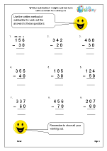 Written subtraction: 3-digit numbers subtract tens